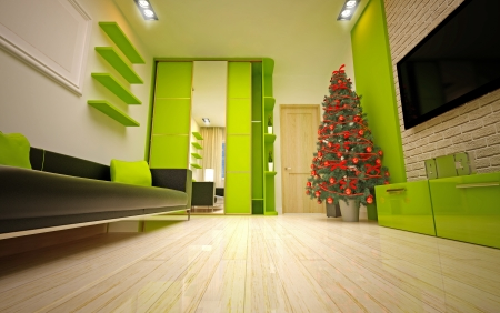 Christmas interior with  Christmas tree & sofa Stock Photo - 22923682
