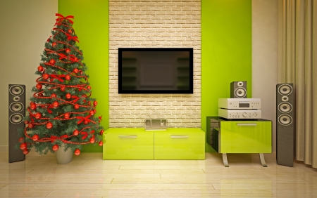 home cinema: Christmas interior with  Christmas tree & home Cinema