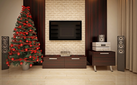 Christmas interior with  Christmas tree & home Cinema photo