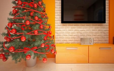Christmas interior with  Christmas tree & sofa Stock Photo - 22923701