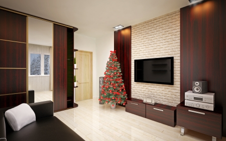 Christmas interior with  Christmas tree & sofa photo