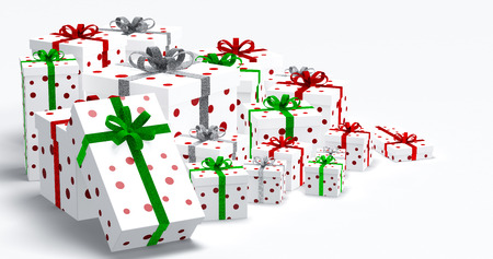 christmas decorations with white background: Colored gift boxes with  ribbons and bows.