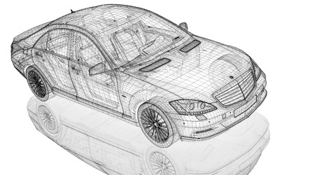 Car 3D model body structure, wire model Stock Photo