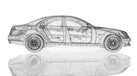 Car 3D model body structure, wire model Foto de archivo