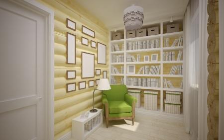 Modern interieur van houten huis royalty vrije foto plaatjes
