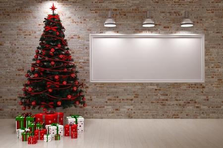 Cristmas Banner on wall with Christmas tree & gifts photo