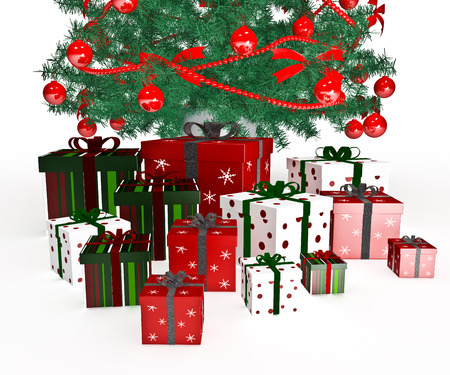 Gift christmas boxes under Christmas tree photo