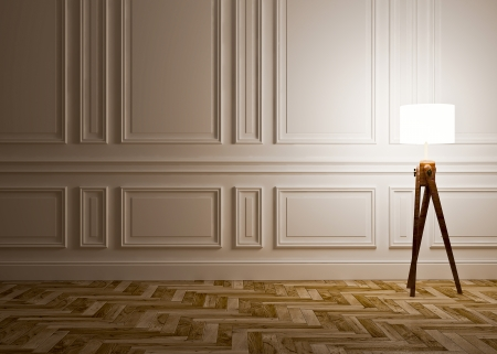 classic interior with  lamp and wall panels