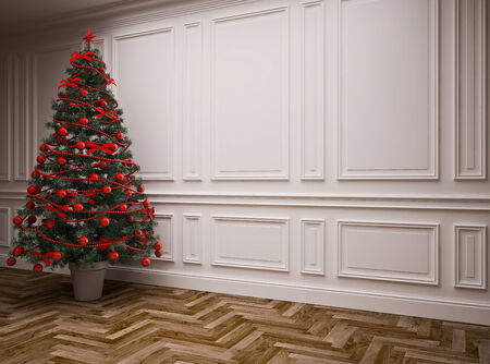 classic interior with a Christmas tree Stock Photo - 23845824