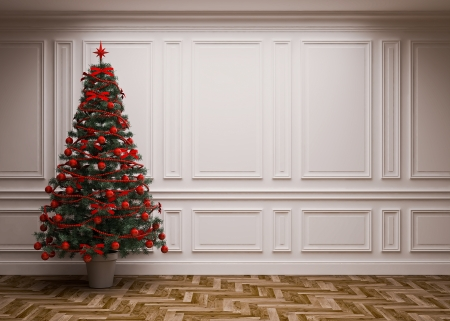 classic interior with a Christmas tree Stock Photo - 23845825