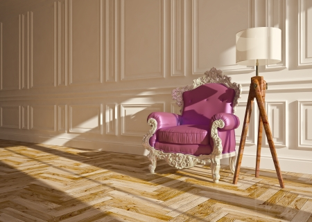 classic interior with armchair floor lamp   wall panels Stock Photo