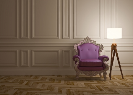 classic interior with armchair floor lamp   wall panels photo