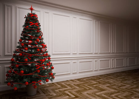 classic interior with a Christmas tree Stock Photo - 23845832