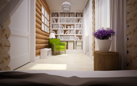 modern interior of wooden house Stock Photo - 23874539