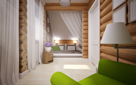 modern interior of wooden house photo