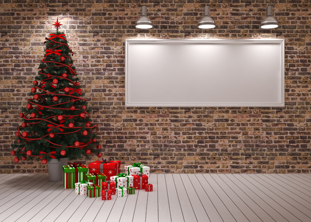 Cristmas Banner on wall with Christmas tree   gifts photo