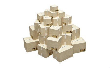 Cardboard boxes stacked in a pyramid on white background photo