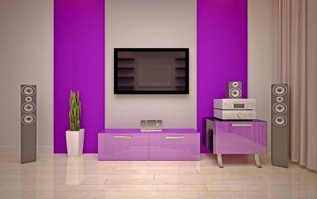 woll: Modern living room bright purple  shades