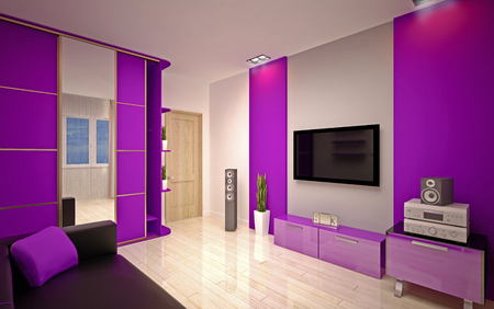 Modern living room bright purple  shades photo