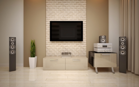 speakers: Modern living room bright beige shades Stock Photo