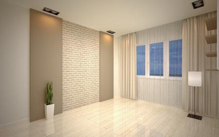 Modern living room bright beige shades Stock Photo - 24872125