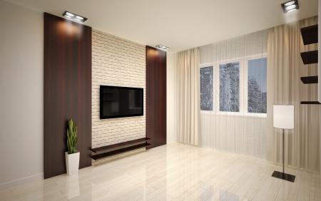 Modern living room bright beige shades photo