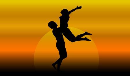 pareja de enamorados al atardecer ilustración vectorial