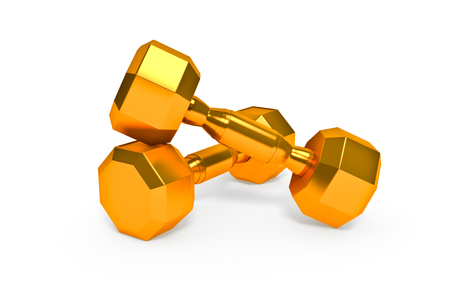 set of gold dumbells  on white background photo