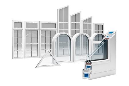 트리플 유약과 절개의 PVC 프로파일 창 스톡 콘텐츠