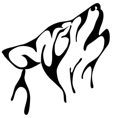 huilende wolf geïsoleerd op achtergrond. vectorillustratie Stock Illustratie