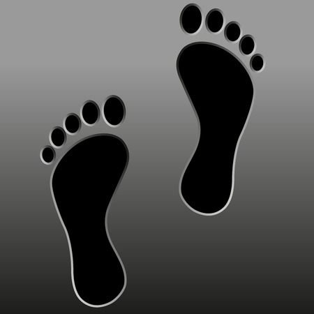 black footprint    Isolated on background