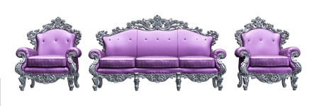 Baroque armchairs   sofa with tpink worker strikes photo