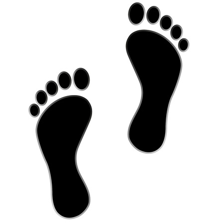 dirty feet: black footprint  Isolated on white  Stock Photo