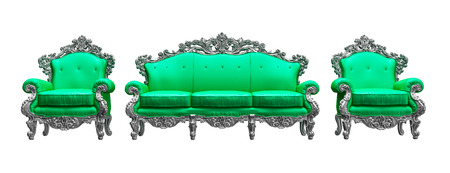 Baroque armchairs   sofa with  green worker strikes photo
