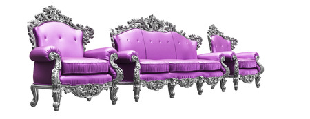 baroque room: Baroque armchairs   sofa with  pink worker strikes