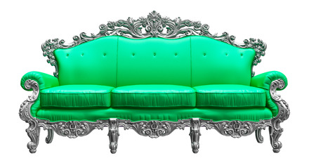 Baroque sofa  with green worker strikes   photo