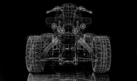 quad bike: Quad bike, motorcycle,  3D model body structure, wire model Stock Photo