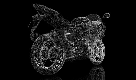 acceleration:  bike, motorcycle,  3D model body structure, wire model