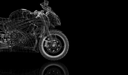 bike, motorcycle,  3D model body structure, wire model photo