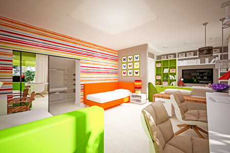 interior children's bedroom in modern style photo