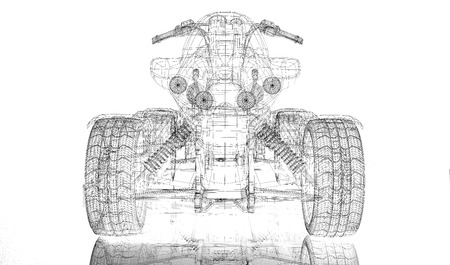 Quad bike, motorcycle,  3D model body structure, wire model photo