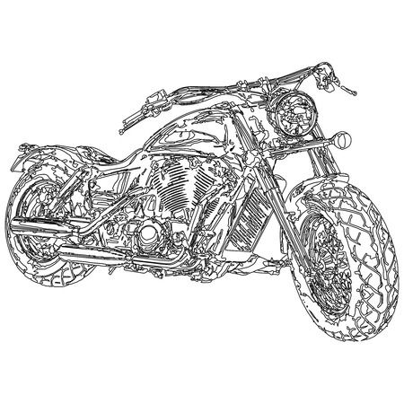 Quad bike  3D model body structure, wire model Vector