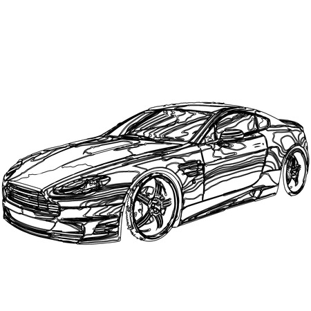 sleeping car: Car 3D model body structure , wire model