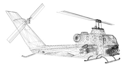 blackhawk helicopter: military helicopter 3D model body structure, wire model