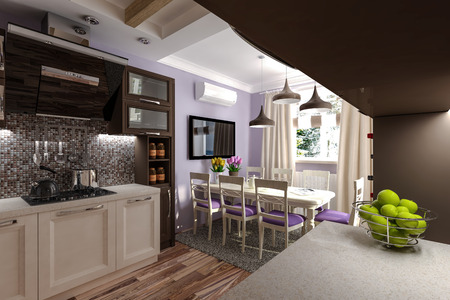 interior mansion: Custom Kitchen 3d model kitchen in the house Stock Photo