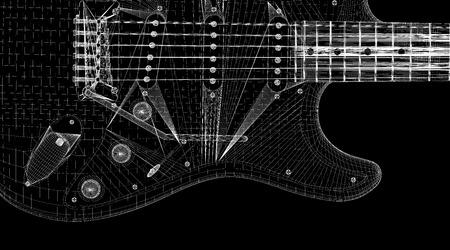 fretboard: Electric guitar  3D model body structure, wire model