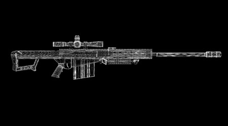 sniper rifle 3D model body structure, wire model