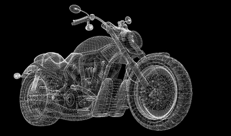 Motorcycle ,  body structure, wire model photo
