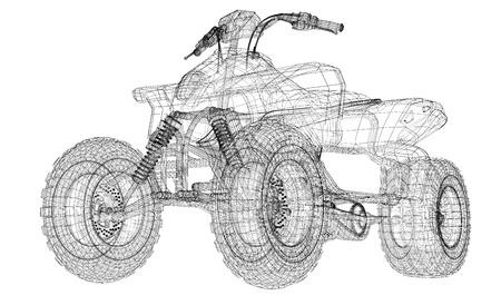quad bike: Quad bike motorcycle, 3D model body structure