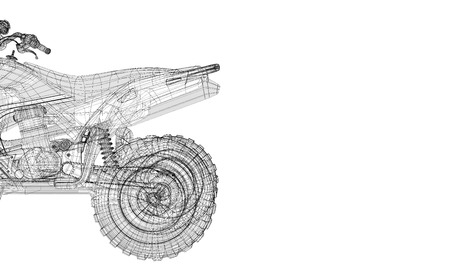 Quad bike motorcycle, 3D model body structure photo